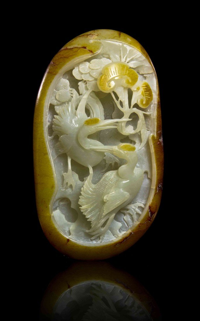 436: A Jade Pebble Form Carving, Width 4 1/8 inches.