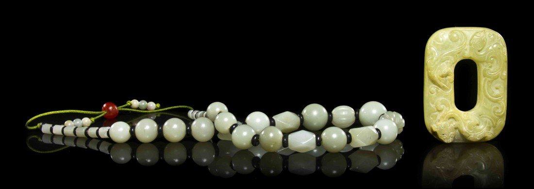 440: A Strand of Jade Beads, Height of plaque 2 1/2 inc