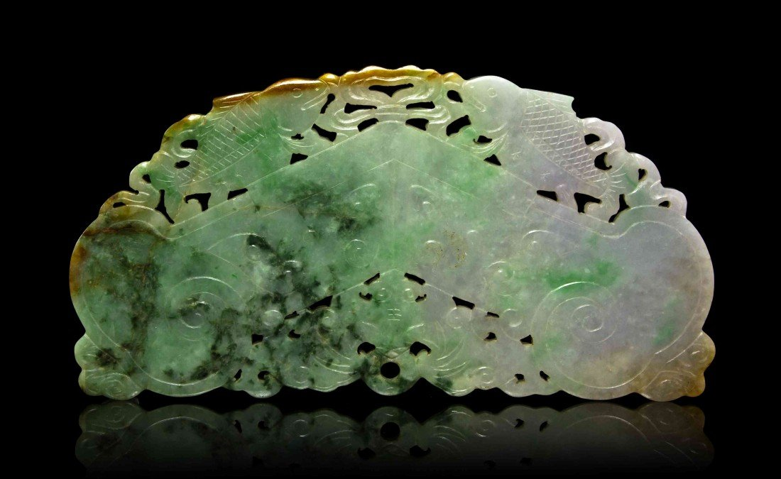 449: A Jadeite Chime-Form Plaque, Height 3 5/8 x width