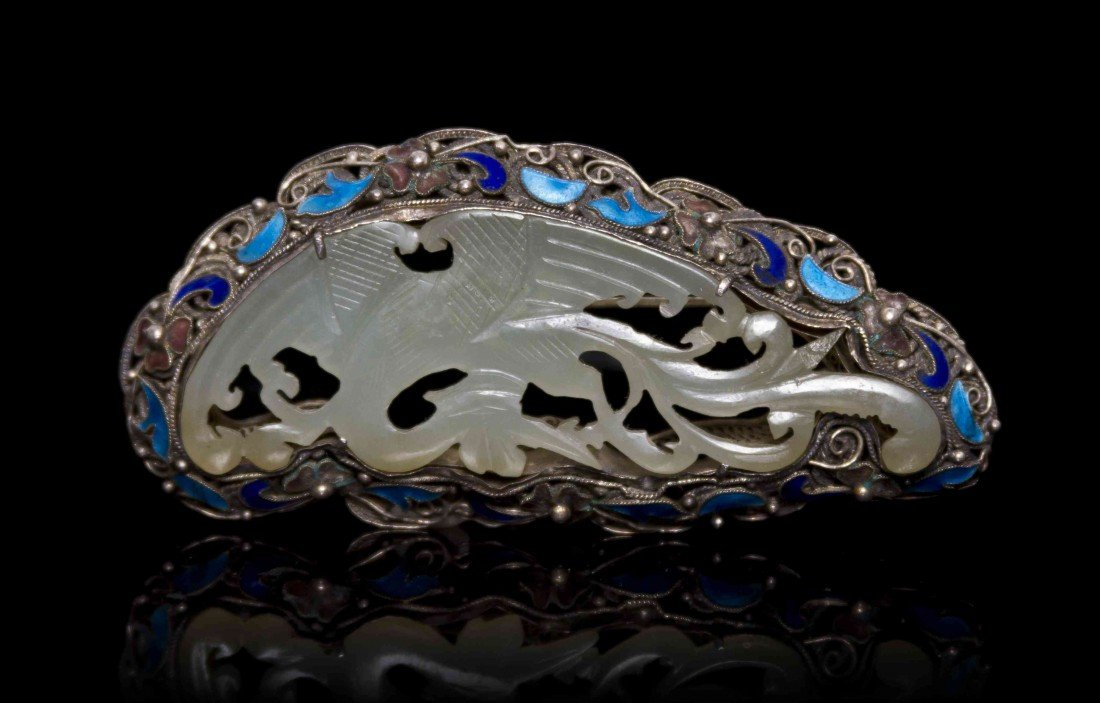 453: A Chinese Silver Mounted and Enameled Jade Plaque,
