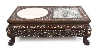 A Chinese Hardwood and Mother-of-Pearl Inlaid Low