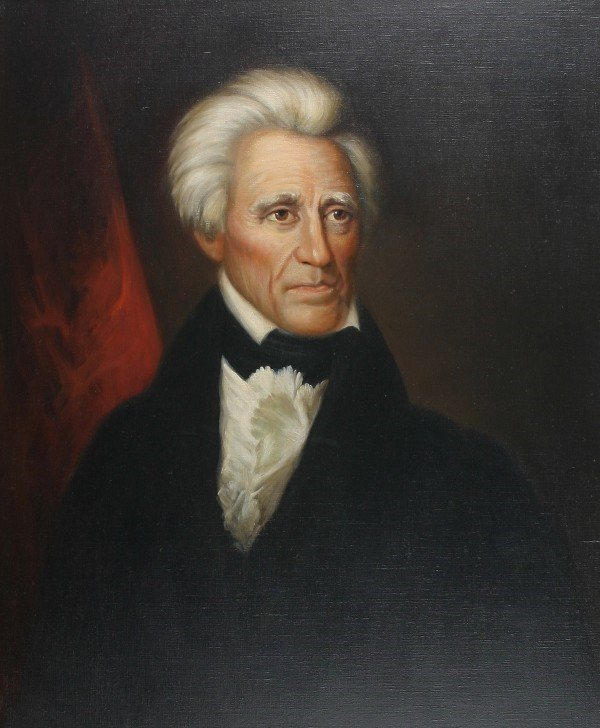 12: American School, 20th century, portrait of Andrew J