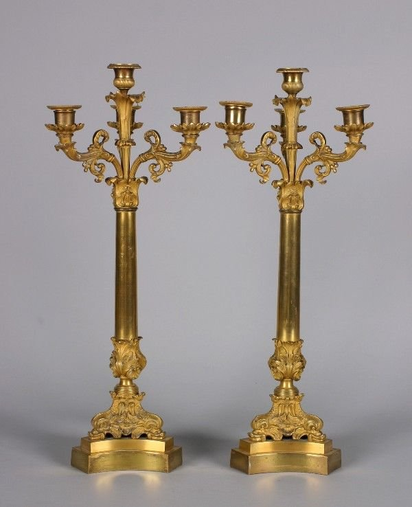 444: A Pair of Gilt Metal Empire Style Four-Light Cande