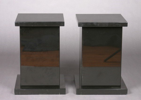 485: A Pair of Polished Stone Pedestals. Height 24 x wi