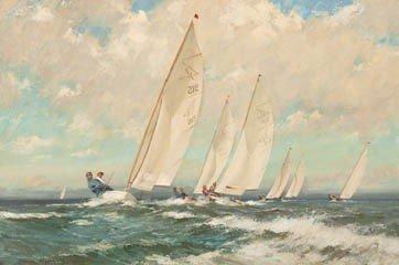 1: Frank Oldham, (British, fl. 1880-1949), Racing Dingh