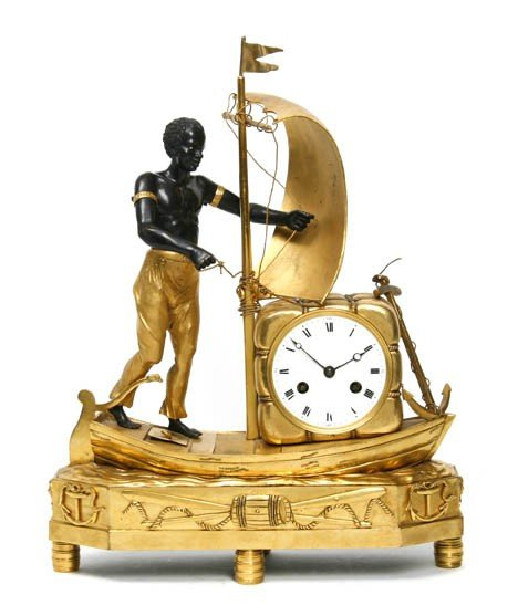 170: A Gilt and Patinated Bronze Figural Mantle Clock,