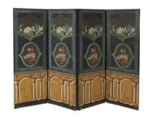 139A A Continental Painted FourPanel Floor Screen