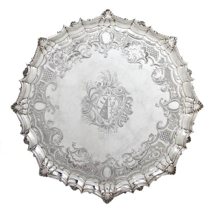 447: An English Silver Salver, Joseph Sanders, Width at