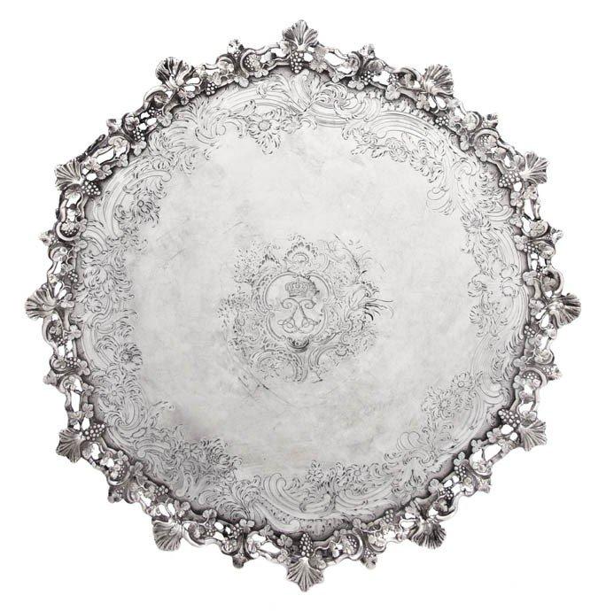 448: An English Silver Salver, John Jacob, Diameter 14
