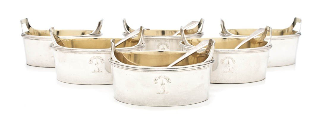 450: A Set of Six English Silver Master Salts, Width of