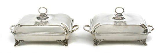451: Two English Silver Covered Entrees, Robert Sharp,