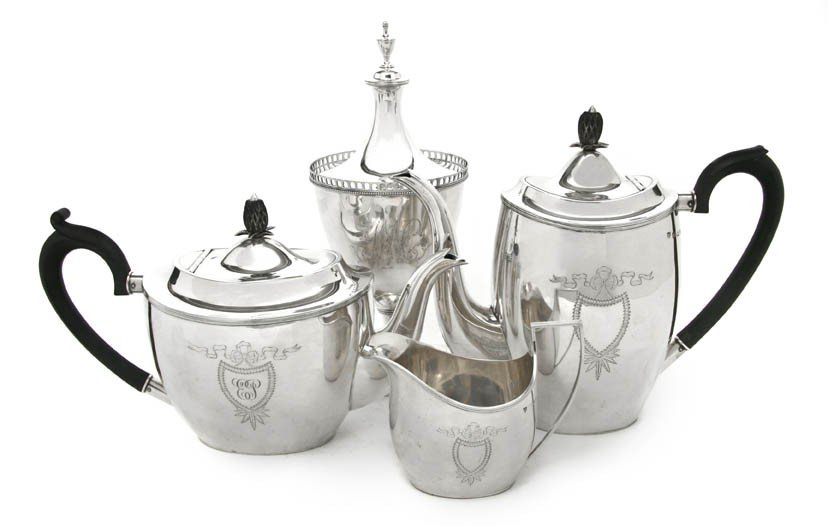 458: An English Silver Tea Set, Elkington & Co., Height