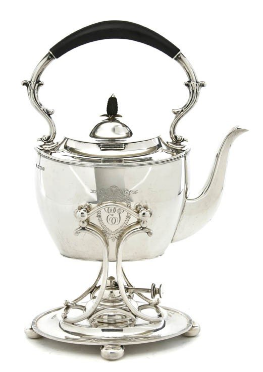 462: An English Silver Hot Water Kettle on Stand, Ellis