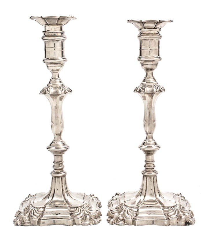 464: A Pair of English Silver Candlesticks, Hawksworth,