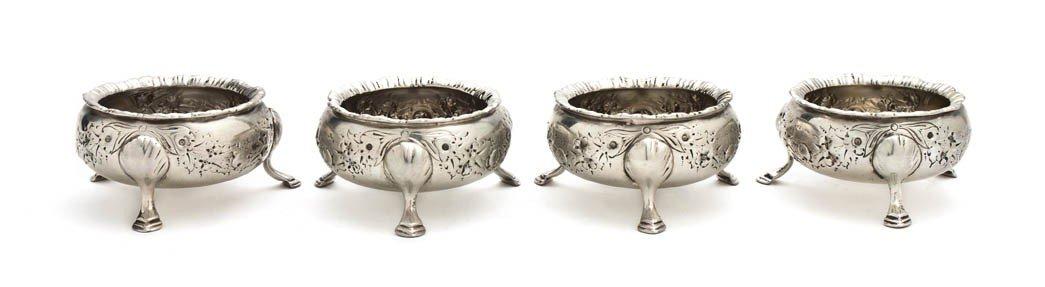 465: A Set of Four English Silver Salts, Israel Freeman
