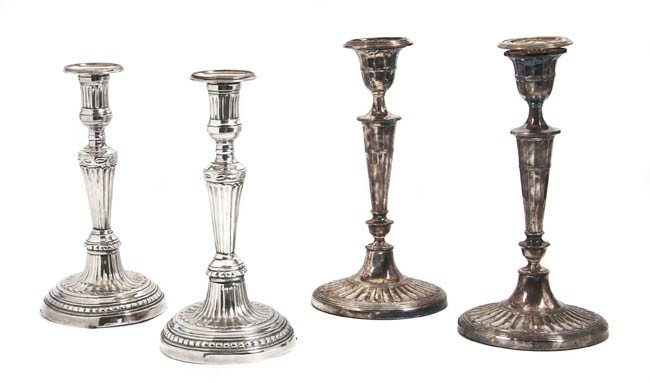 466: Two Pairs of English Silverplate Candelabra, Heigh