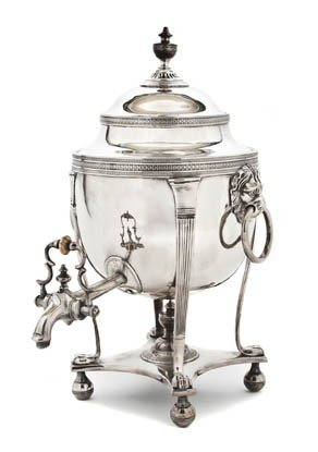 467: An English Silverplate Tea Urn on Stand, Height 13