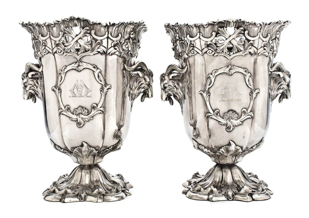 468: A Pair of Sheffield Plate Wine Buckets, Height 10