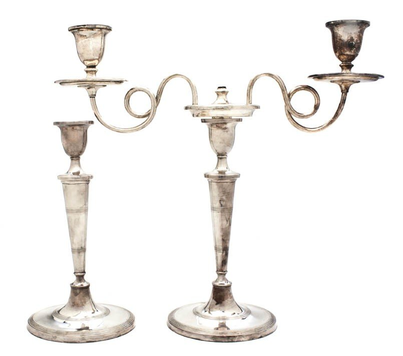 469: A Pair of English Silverplate Two-Light Candelabra