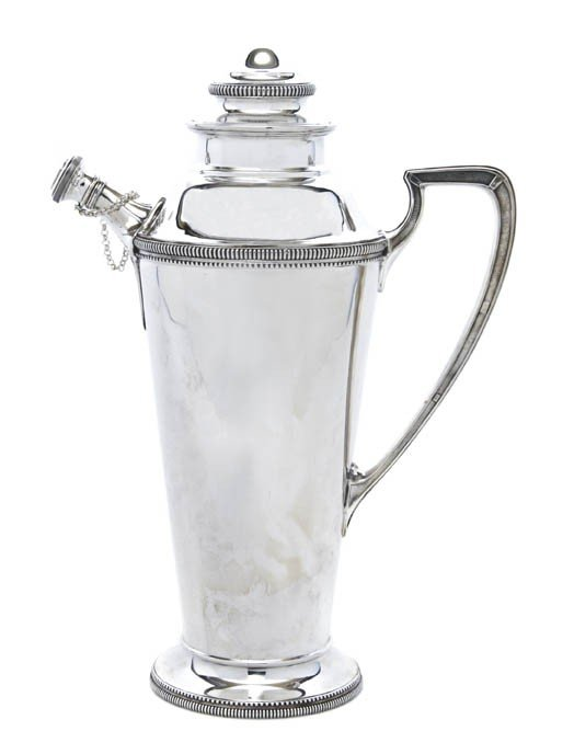 542: An American Sterling Silver Cocktail Shaker, Carti
