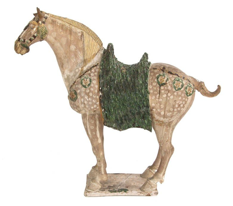 601: A Large Sancai-Glazed Pottery Figure of a Horse, H
