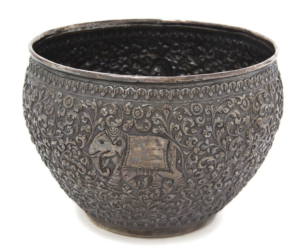 907: A Middle Eastern Silvered Metal Jardiniere, Height