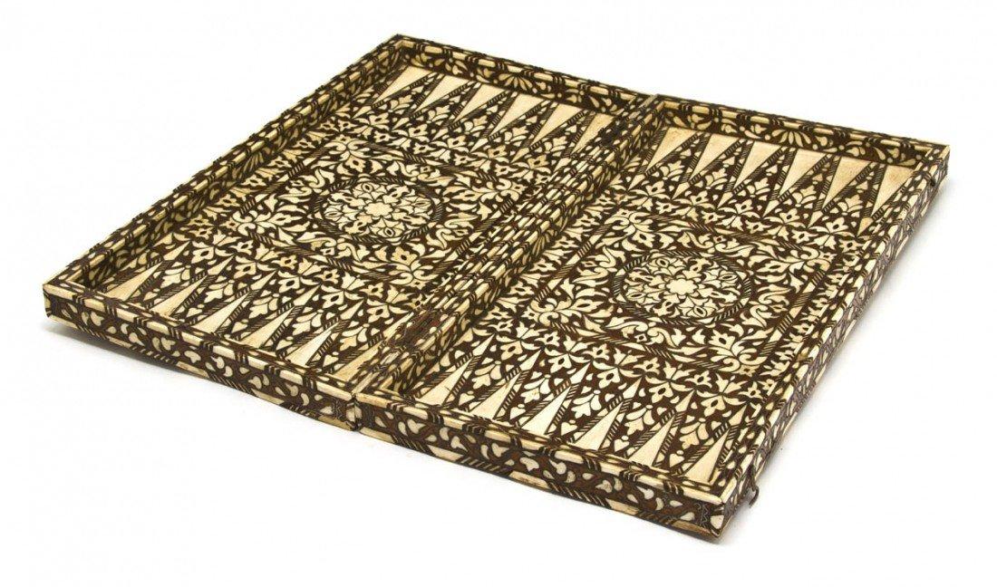 909: A Moroccan Bone Inlaid Gaming Box, Width 22 1/2 in