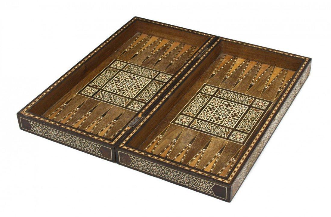 910: A Moroccan Bone Inlaid Gaming Box, Width 19 1/4 in