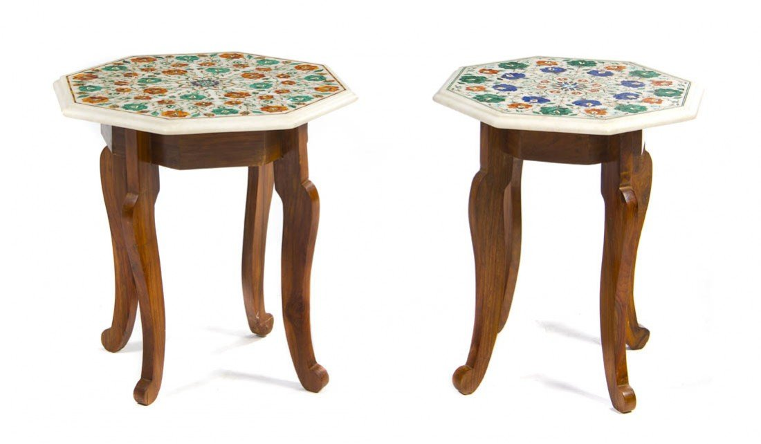 911: A Pair of Inlaid Alabaster Occasional Tables, Widt