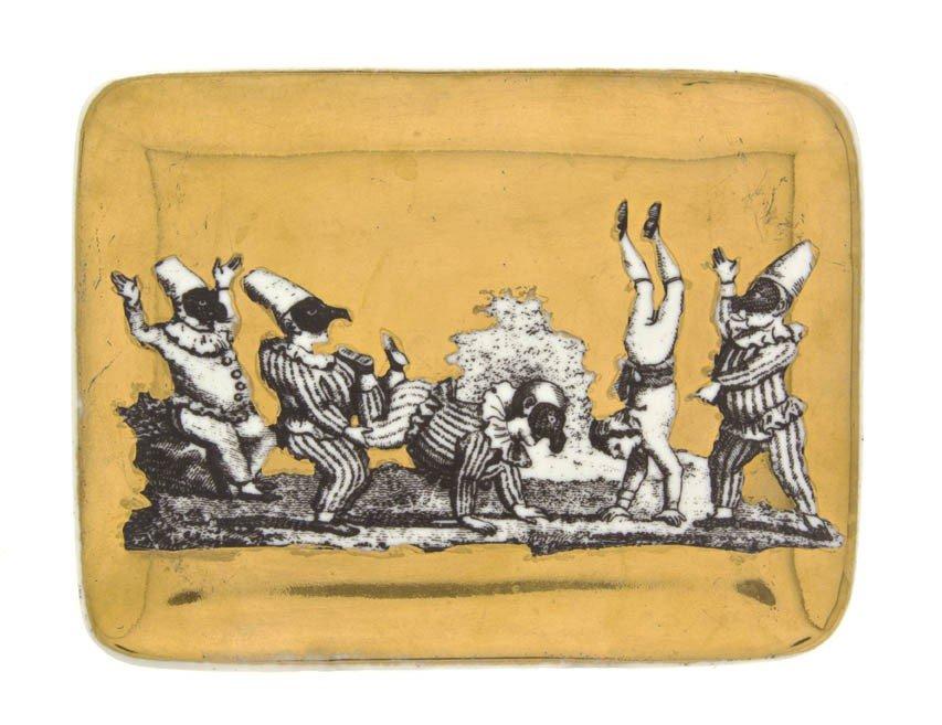 913: An Italian Ceramic Card Tray, Fornasetti, Width 5