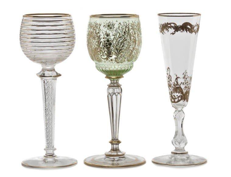 914: A Set of Eighteen Continental Enameled Green Glass