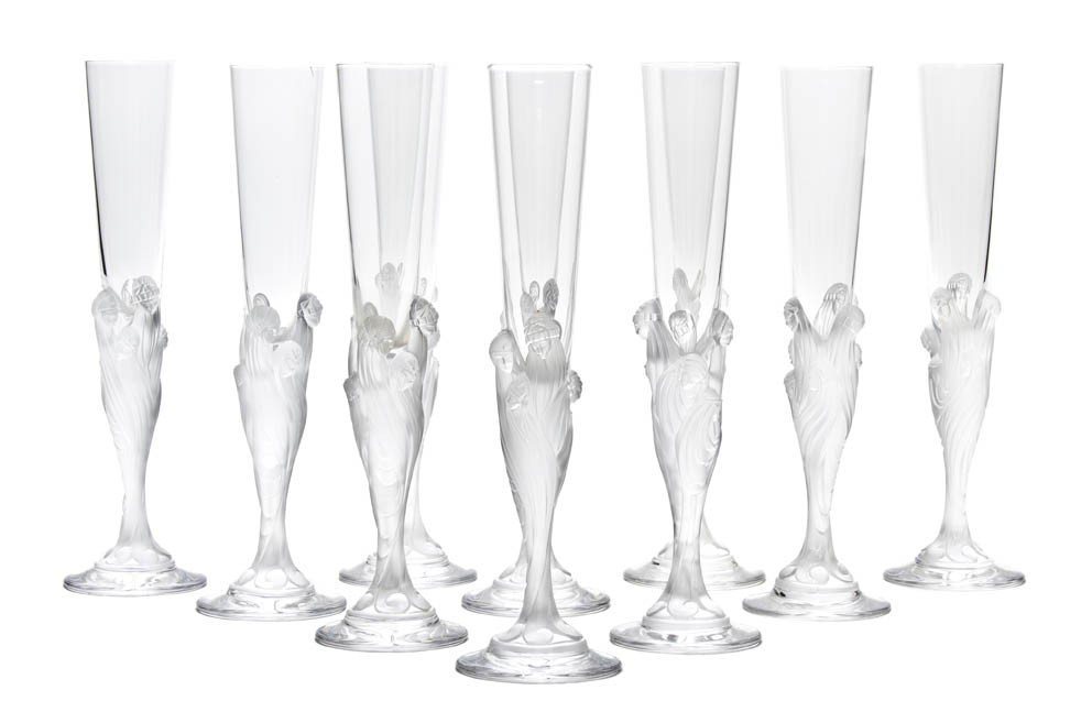 919: A Set of Ten Champagne Flutes, Erte, Height 11 3/4
