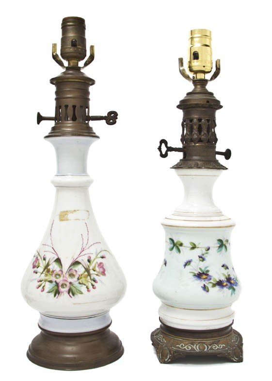 920: A Group of Two Continental Enamel Glass Fluid Lamp