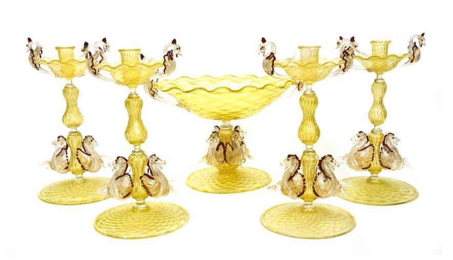 922: A Venetian Glass Garniture, Height of first 12 1/4