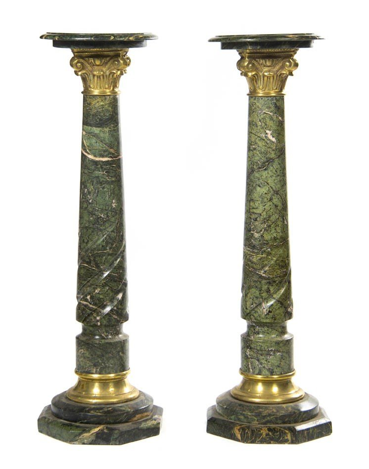 926: A Pair of Neoclassical Style Marble and Brass Pede