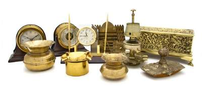 1176 A Collection of Brass Decorative Desk Articles W