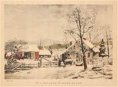 1373 Currier and Ives  New England Winter Scene