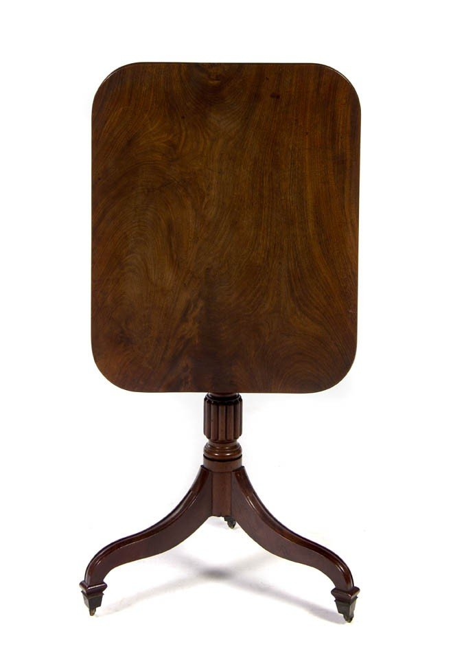 1: A George III Mahogany Tilt-Top Tea Table, Height 30