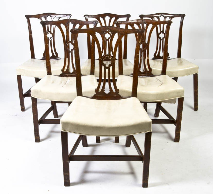 14: A Set of Six Chippendale Style Side Chairs, Height