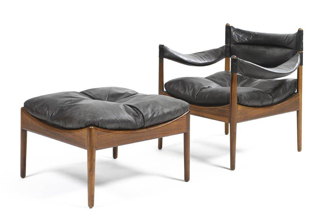 18: A Danish Rosewood Armchair and Ottoman, Kristian Ve