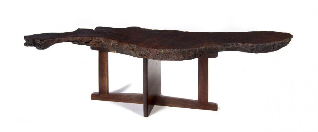 19: An American Burlwood Low Table, in the manner of Ge