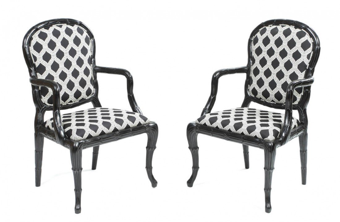21: A Pair of American Ebonized Open Armchairs, Height