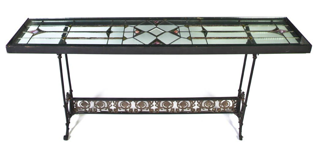 22: A Leaded Glass and Wrought Iron Console Table, Heig