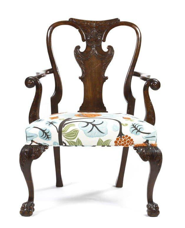 24: A Georgian Style Oak Open Armchair, Height 40 inche