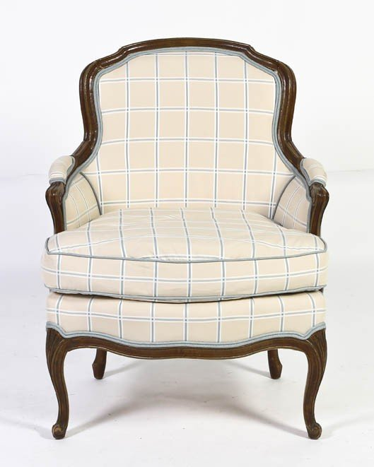 25: A Louis XV Style Fruitwood Bergere, Height 35 inche