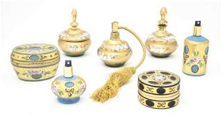 259 A Gilt and Enameled Glass Dresser Set Height of f