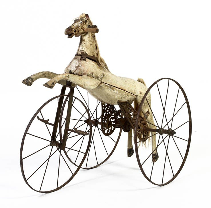 303: A Painted Wood and Iron Child's Tricycle Velociped