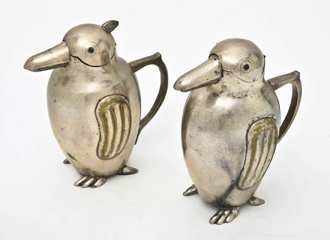 526: A Pair of Silverplate Figural Pitchers, Height 6 5