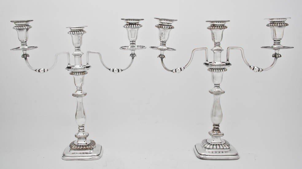 527: A Pair of Silverplate Three-Light Candelabra, Heig