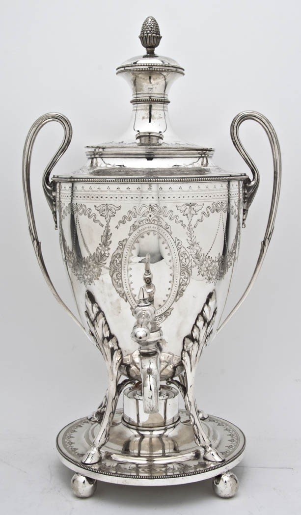 528: An English Silverplate Hot Water Urn on Stand, Elk